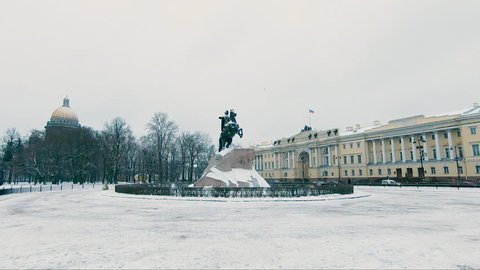 St. Petersburg. Russia - 15 November 2018. Monument to Peter the great bronze Horseman on the Senate square in St. Petersburg