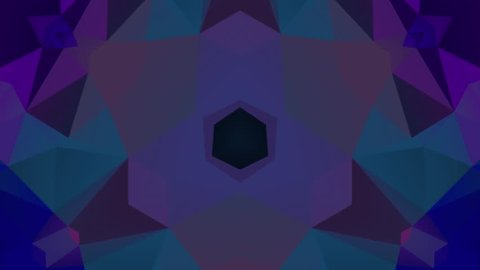 Kaleidoscope mosaic low poly background HD animation. Geometric design polygonal pattern motion graphic. Abstract texture colorful footage video. Seamless loop screen saver.