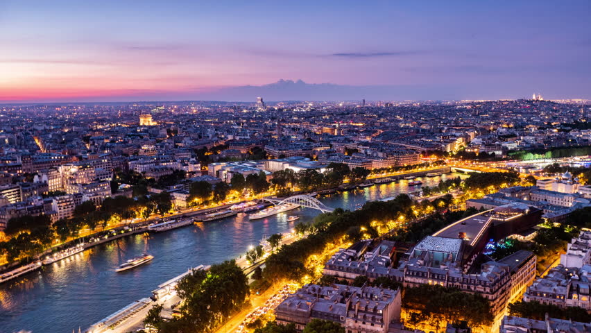 Timelapse, cityscape of sunset time and the boats crossing Seine river, Paris, France | Shutterstock HD Video #1025480525