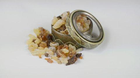 Myrrh with frankincense or loban resin. Rotation on white.