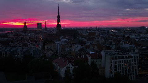 Aerial Latvia Riga June 2018 Sunset 30mm 4K Inspire 2 Prores  Aerial video of downtown Riga in Latvia during a beautiful sunset.
