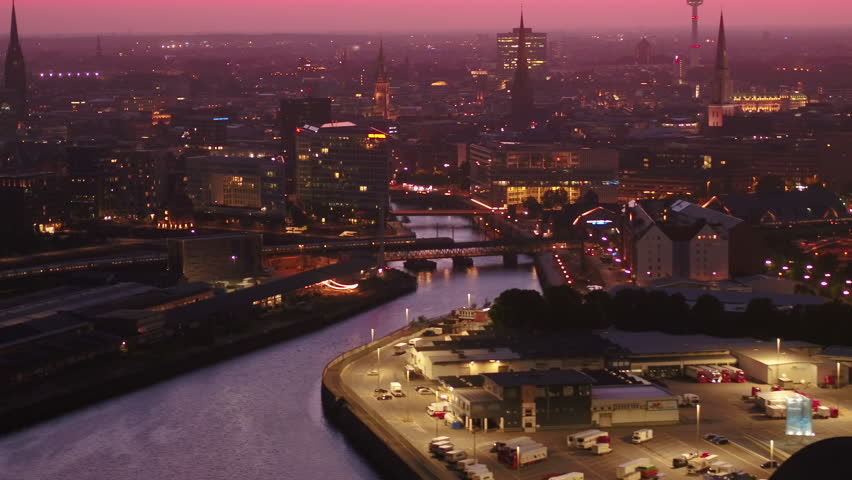 Aerial Germany Hamburg June 2018 Night 90mm Zoom 4K Inspire 2 Prores  Aerial video of downtown Hamburg in Germany at night with a zoom lens. | Shutterstock HD Video #1025572415