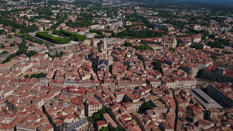 Aerial France Montpellier August 2018 Sunny Day 30mm 4K  Aerial video of downtown Montpellier in France on a sunny day.