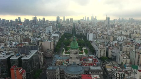 Aerial drone view of the Palace of the National Congress of Argentina. Buenos Aires.