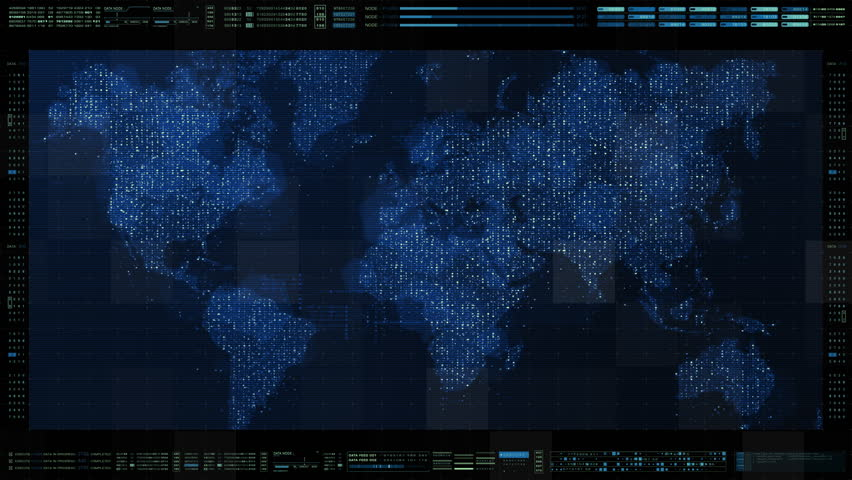Futuristic HUD global broadband internet communication between cities around the world with matrix particles continent map for head up display background