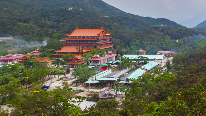 Ngong Ping Village and temple view from the big Buddha, Hong Kong | Shutterstock HD Video #1025686175