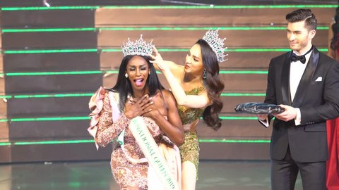 "Pattaya, Thailand - March 08, 2019 ; Contestant from USA Crowning Moment as Winner Most Beautiful for ""Miss International Queen Final Round"", LGBT Transgender Miss Beauty Contest at Tiffany Theatre"