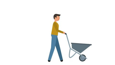 Stick Figure Pictogram Man Worker Drags Cart Character Flat Animation
