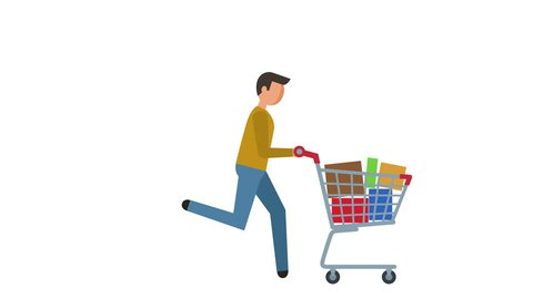 Stick Figure Pictogram Man Run with Shopping Cart Character Flat Animation