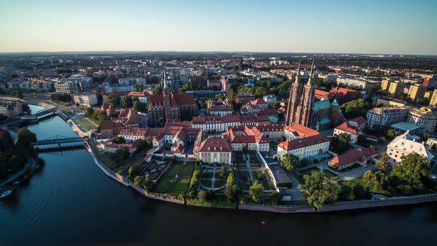 Aerial View of Wroclaw, Ostrow Tumski, Cathedral of St. John the Baptist, Katedra Swietego Jana Chrzciciela, Old Town, Stare Miasto, Poland, Polska | Shutterstock HD Video #1025781335