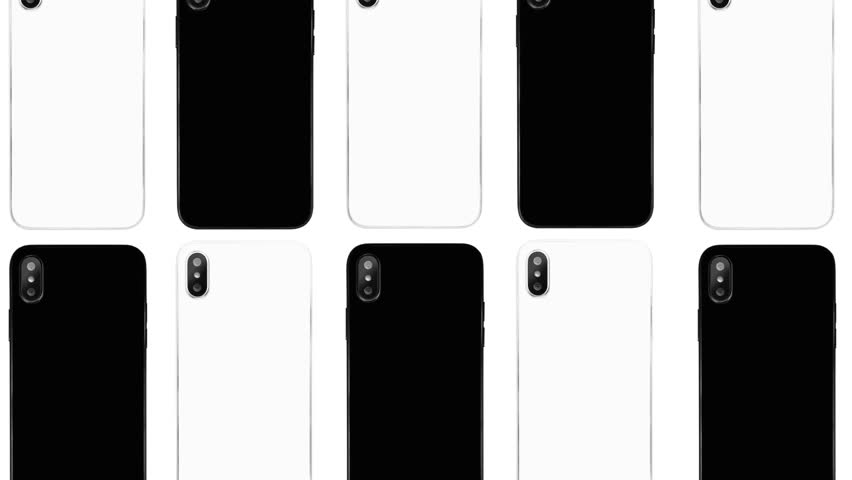 Footage of modern smartphones in black and white colors for background.Place logo,text above moving mobile phones with trendy dual cameras on back panel.Popular cellphone devices for advertisement | Shutterstock HD Video #1025784875
