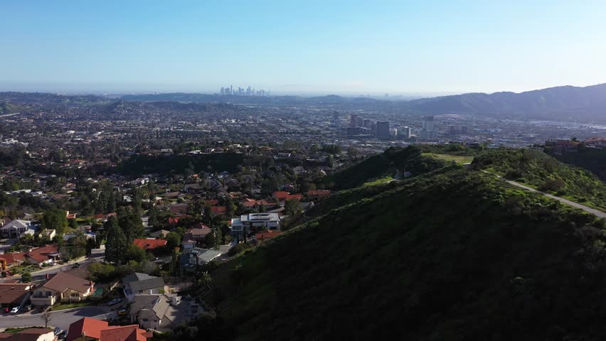Wealthy Residential Area near Los Angeles Aerial Drone | Shutterstock HD Video #1025789045