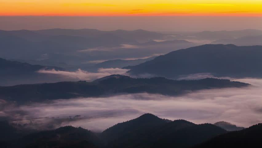 Misty dawn in the mountains. Beautiful spring Landscape. Timelapse | Shutterstock HD Video #1025796965