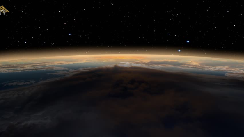 International Space Station Orbiting Earth - International Space Station over the planet Earth - Planet Earth with a spectacular sunset  | Shutterstock HD Video #1025809385