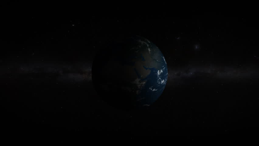 3D Earth revealing in space with lens flare effects. Realistic and very high quality. | Shutterstock HD Video #1025816375