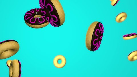 3d animation of falling glazed donuts.