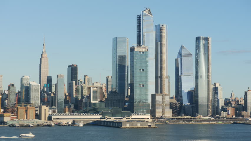 The mixed-use Hudson Yards real estate development and other buildings on the West Side of Manhattan in New York City. | Shutterstock HD Video #1025889515
