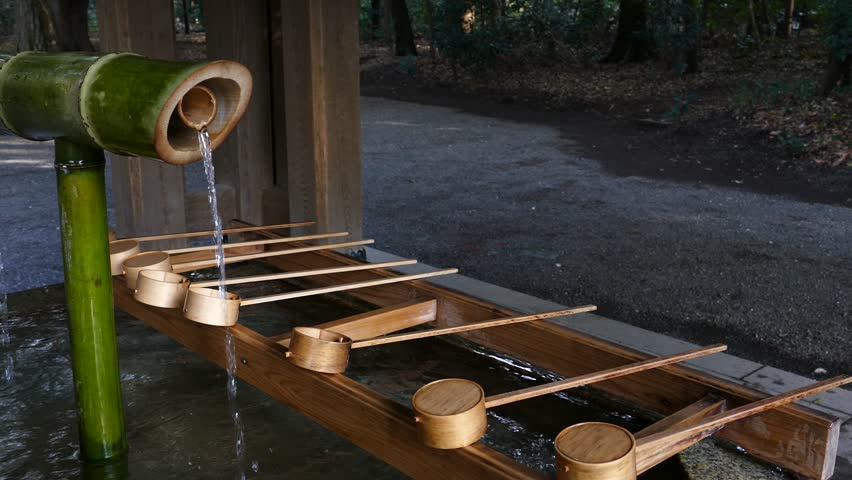 Japanese water purification basin temizuya at meiji shrine tokyo Japan | Shutterstock HD Video #1025893745