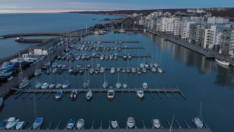 Helsingborg, Skane / Sweden - 01 05 2019: Helsingborg harbor panning to see Dunkers Cultural House.
