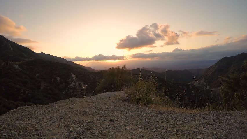 Sunset time lapse in little tujunga canyon mountains | Shutterstock HD Video #1025941175