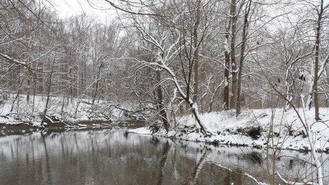 Alum Creek in Columbus, Ohio in winter