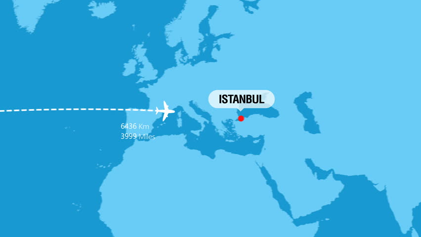 New York to Istanbul Flight Travel Route