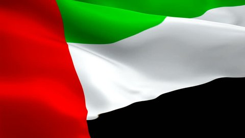 UAE flag Closeup 1080p Full HD 1920X1080 footage video waving in wind. National 3d UAE flag waving. Sign of United Arab Emirates seamless loop animation. Dubai UAE flag HD resolution Background 1080p