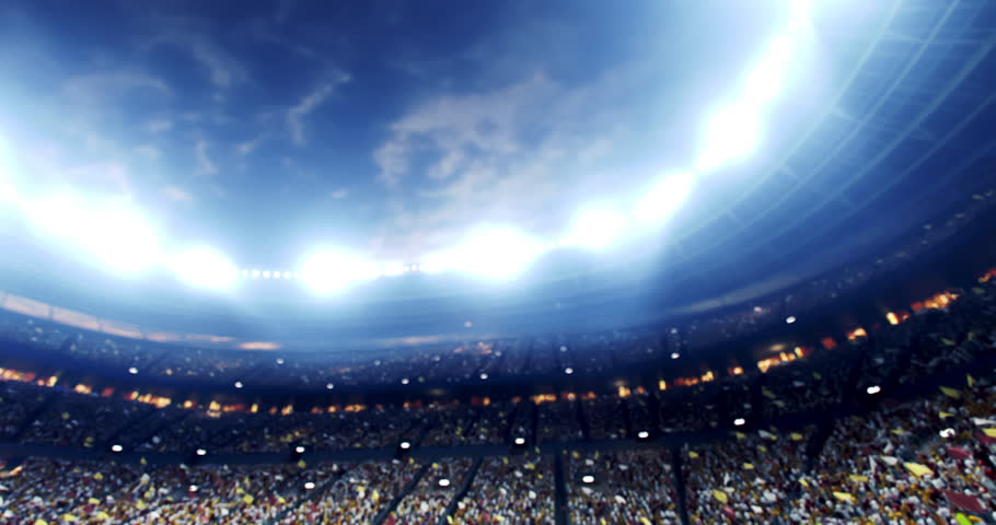4k resolution footage of a dramatic soccer stadium. The stadium was made in 3d without using existing references. The crowd and light on the stadium are animated. | Shutterstock HD Video #1026060215