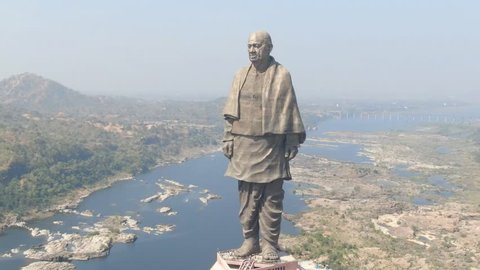 Statue of Unity, Narmada, Gujarat, India - 20 October 2018: Aerial video view of Statue of Unity by drone. Statue of Unity is the tallest statue in the world. Located in Narmada, Gujarat, India.