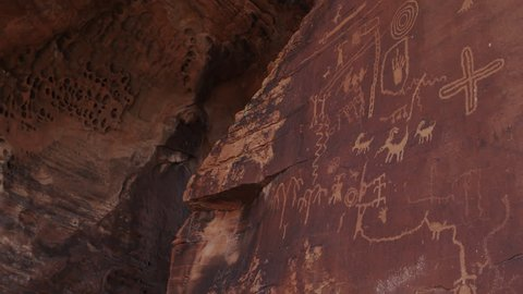 Native American Rock Art / Petroglyphs at Atlatl Rock in the Valley of Fire State Park in Nevada