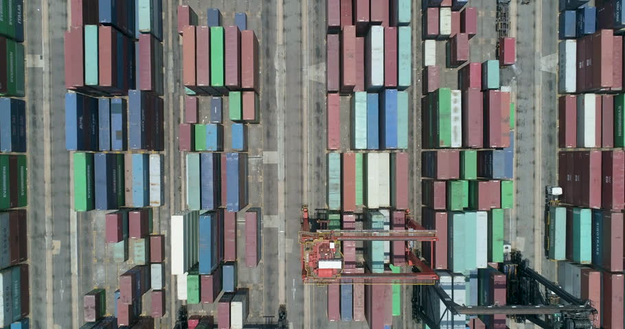 commercial logistics industry Aerial shot. Shipping Containers From Overhead #1026181775