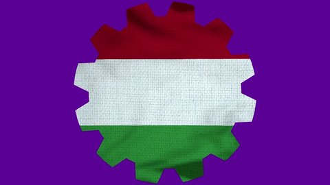 Hungary Gear Flag Loop - Realistic 3D Illustration 4K - 60 fps flag of the Hungary - waving in the wind. Seamless loop with highly detailed fabric texture. Loop ready in 4k resolution