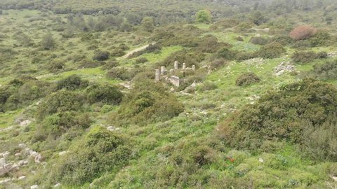 Horvat Sumak (Sumaqa). A Roman and Byzantine Jewish village on Mount Carmel, Israel. The ruins of an ancient temple.