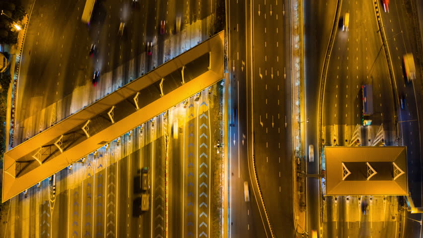 Aerial view time lapse of Expressway tollgate | Shutterstock HD Video #1026207455
