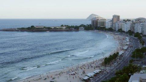 Copacabana beach, Rio de Janeiro, Brazil viewed from above - 4K.