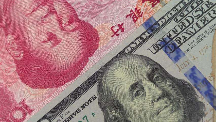 China yuan against US dollar bill rotating. Chinese and USA trade. 4K stock video footage | Shutterstock HD Video #1026290315