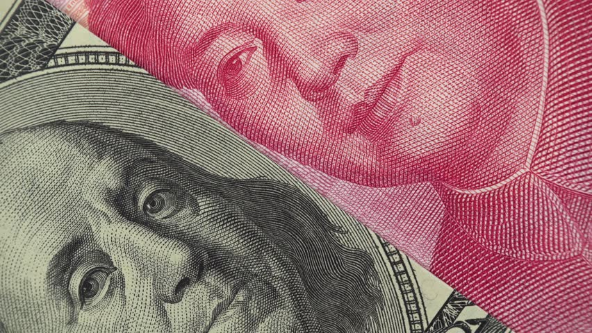 China yuan and US dollar bill rotating. Chinese and USA trade. 4K stock video footage | Shutterstock HD Video #1026290435