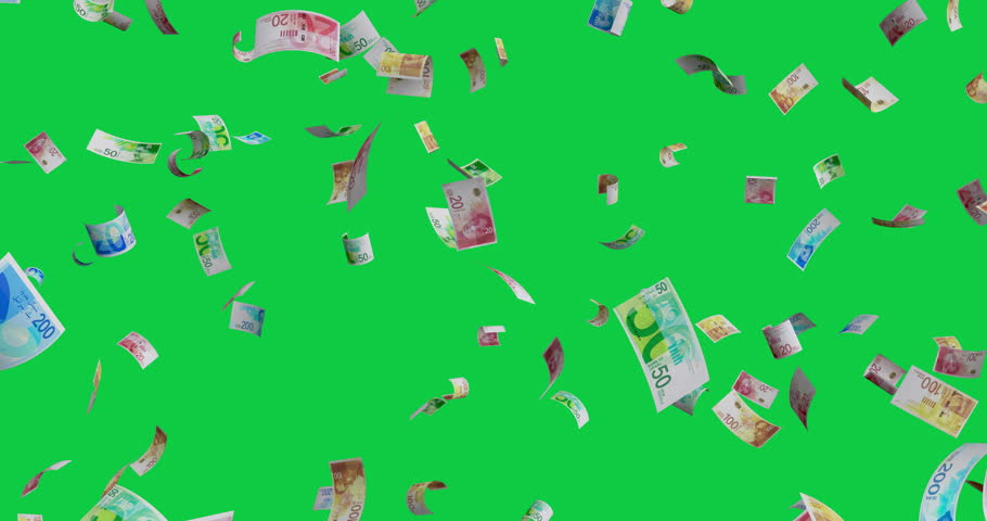 Flying Israeli new shekel mix banknotes - 4K 60fps 3d render Isolated on green background | Shutterstock HD Video #1026298235