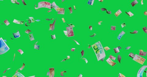 Flying Israeli new shekel mix banknotes - 4K 60fps 3d render Isolated on green background