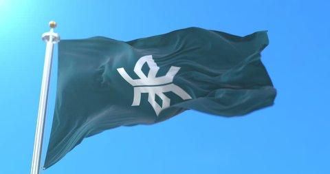 Flag of Iwate Prefecture japanese, Japan. Loop