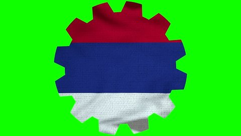 Serbia Gear Flag Loop - Realistic 3D Illustration 4K - 60 fps flag of the Serbia - waving in the wind. Seamless loop with highly detailed fabric texture. Loop ready in 4k resolution