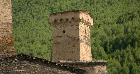 Static close up of of the stone medieval fortified Svaneti tower houses of  Ushguli, Upper Svaneti, Samegrelo-Zemo Svaneti, Mestia, Georgia.