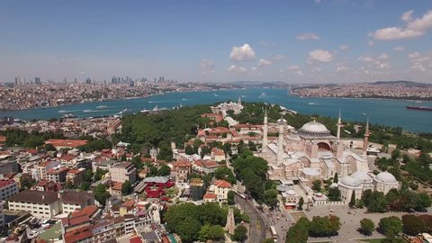 Bird view of the Old City of Istanbul and Hagia Sophia. Istanbul is the only city that spreads on two continents, and connects two worlds - Europe and Asia.