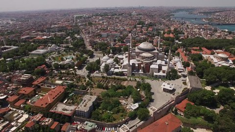 Drone view of Hagia Sophia in the center of Old City of Istanbul. Istanbul is the only city that spreads on two continents, and connects two worlds - Europe and Asia.