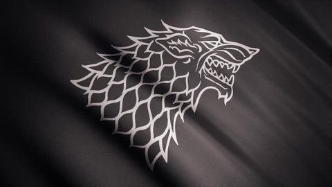 Black wolf grin silhouette on fluttering abstract flag of grey color, seamless loop. Monochrome direwolf as an emblem of Stark house, game of thrones concept. Editorial use only