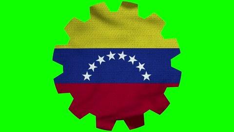 Venezuela Gear Flag Loop - Realistic 3D Illustration 4K - 60 fps flag of the Venezuela - waving in the wind. Seamless loop with highly detailed fabric texture. Loop ready in 4k resolution