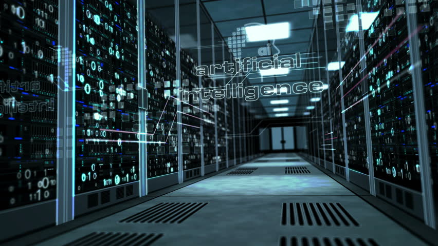 Artificial intelligence and deep machine learning concept with ai head shape on glass door in server room. Camera rises in the corridor with working computer racks. Abstract 3D animation.