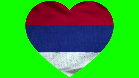 Serbia Heart Flag Loop - Realistic 3D Illustration 4K - 60 fps flag of the Serbia  - waving in the wind. Seamless loop with highly detailed fabric texture. Loop ready in 4k resolution