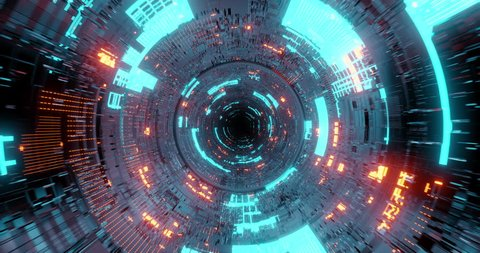 4K seamless loop flying into spaceship tunnel, sci-fi spaceship corridor. Futuristic technology abstract seamless VJ for tech titles and background. Motion graphic for internet, speed. 3D render