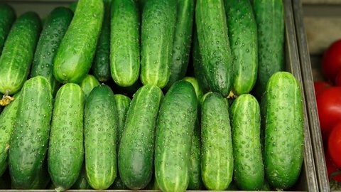Footage of green fresh cucumber in wooden box on sale at grocery food store.Buy natural ingredients for healthy eating